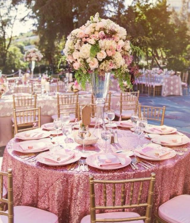 Decoração festa de 15 anos rosa com glitter