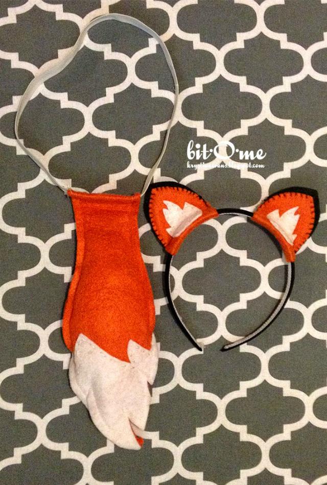 Tiara e gravata de raposa de feltro