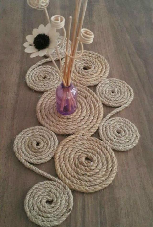 Centro de mesa de corda de sisal