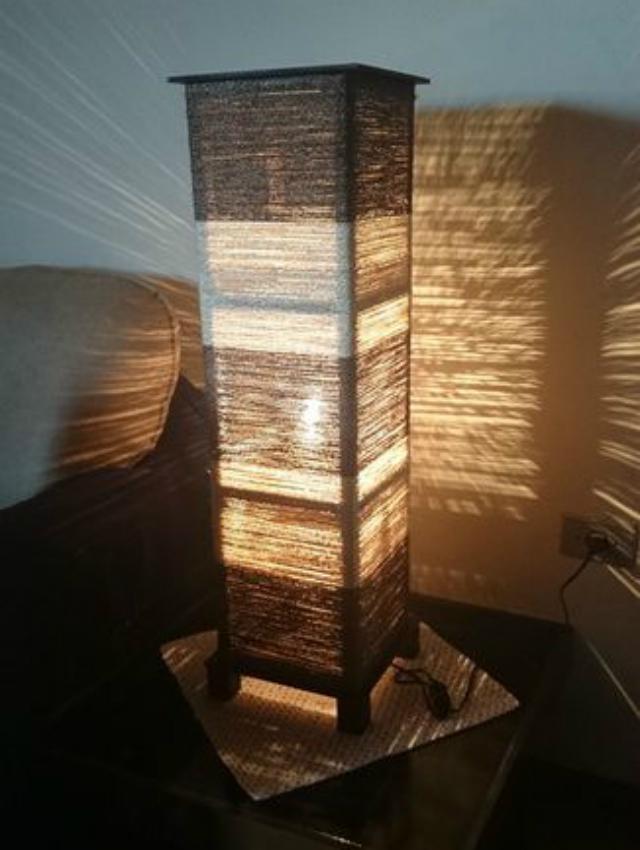 Luminária de corda de sisal