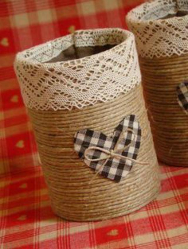 Vaso de corda de sisal e renda