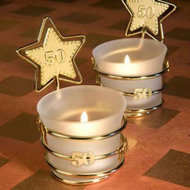 Velas com estrela dourada bodas de ouro