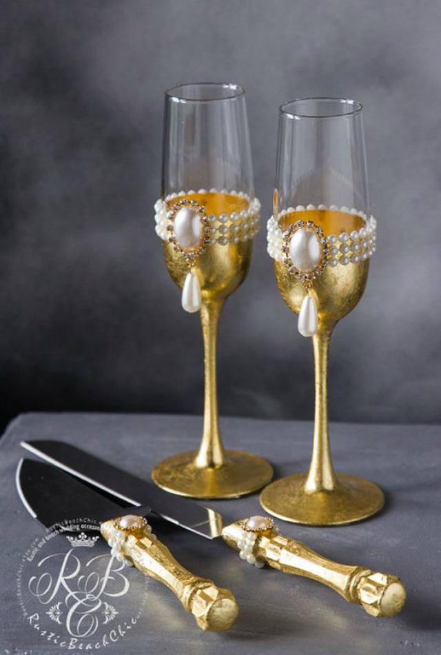 Taças e talheres decorados bodas de ouro