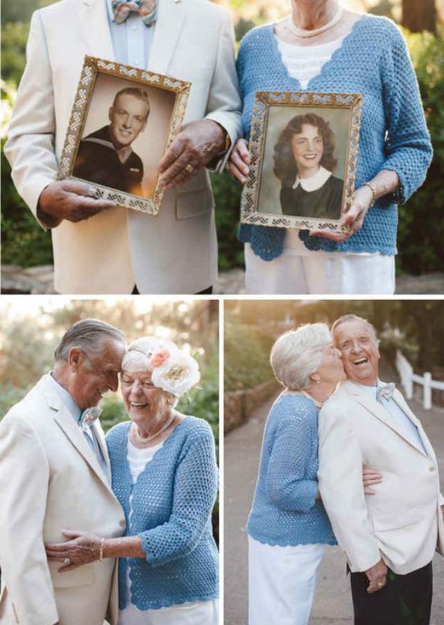 Casal de idosos bodas de ouro
