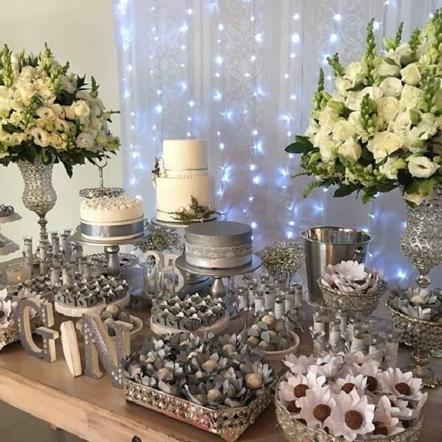 Mesa de doces bodas de prata