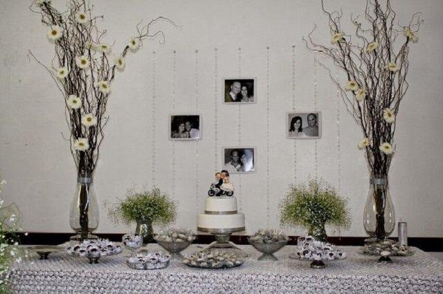 Varal de fotos para bodas de prata