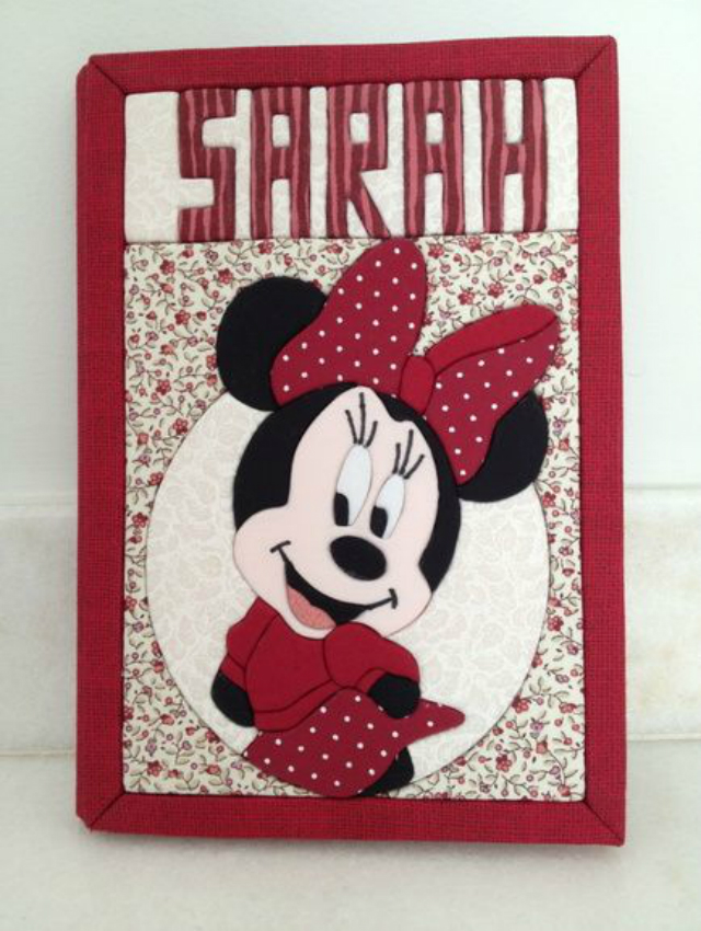 Caderno decorado com patchwork embutido da Minnie