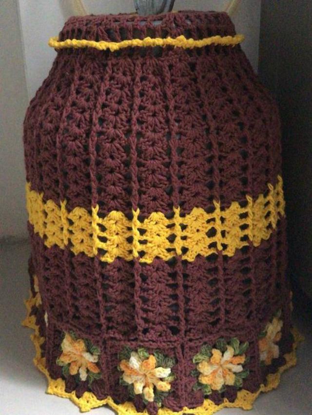 Capa de botijão de crochê colorida