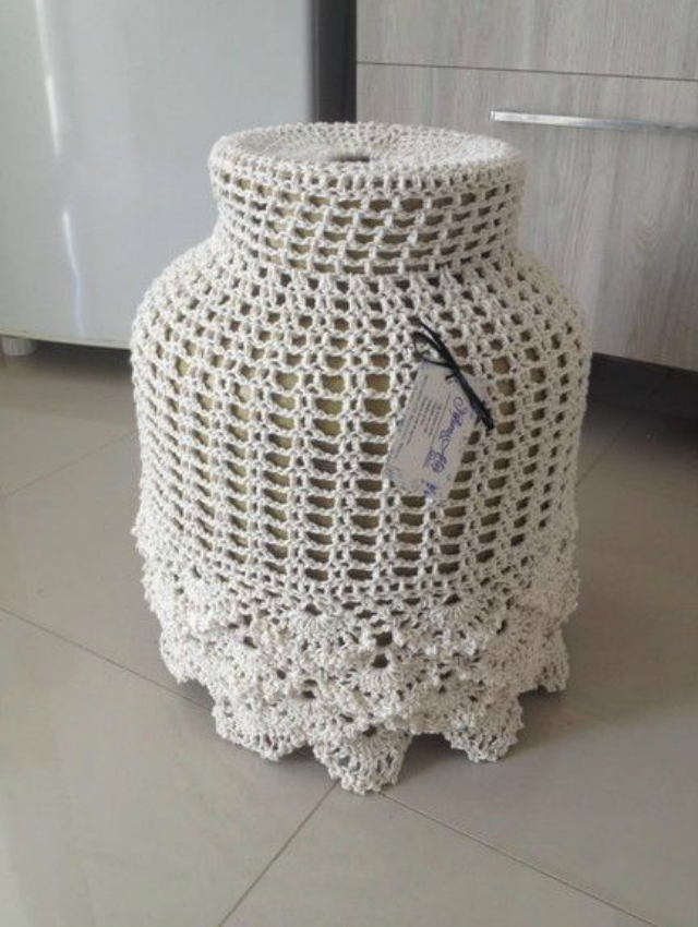 Capa de botijão de crochê branca