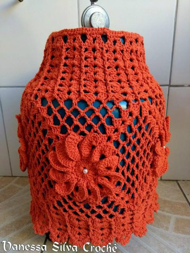 Capa de botijão de crochê laranja