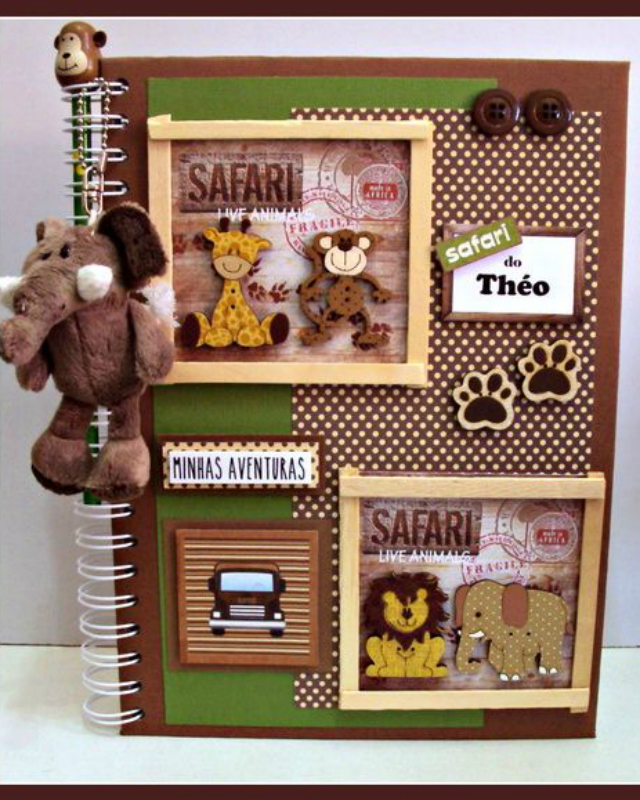 Caderno decorado com Scrapbooking safari