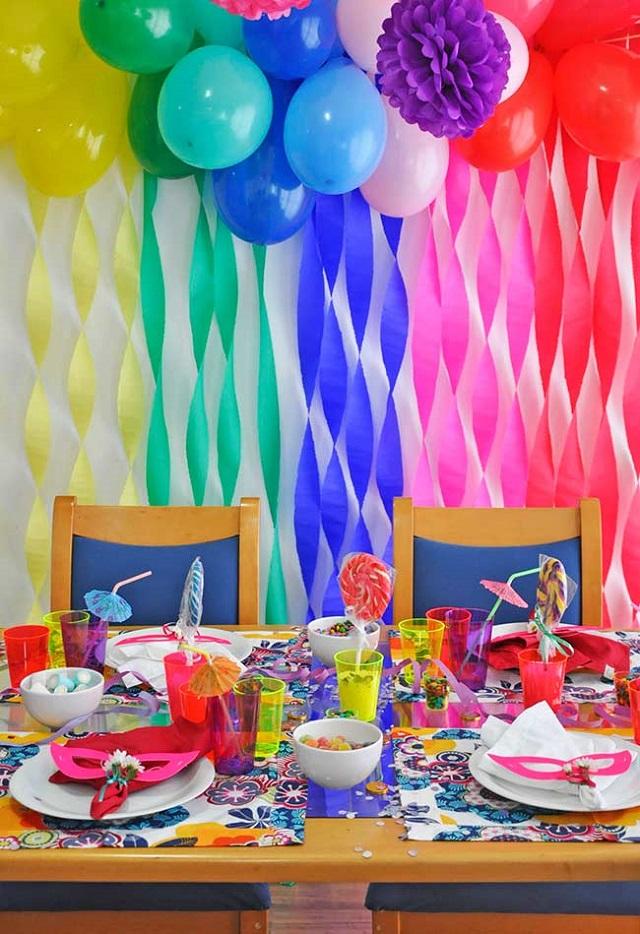 Mesa de festa de carnaval