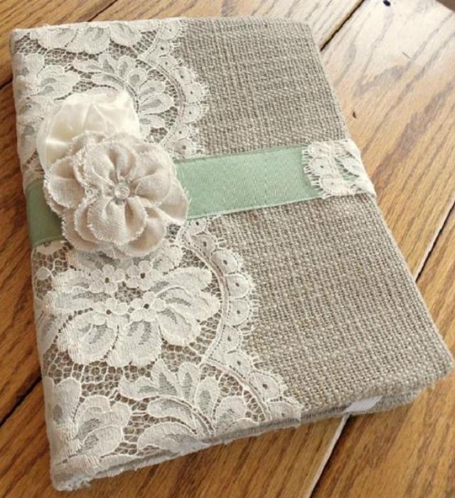 Caderno personalizado com renda