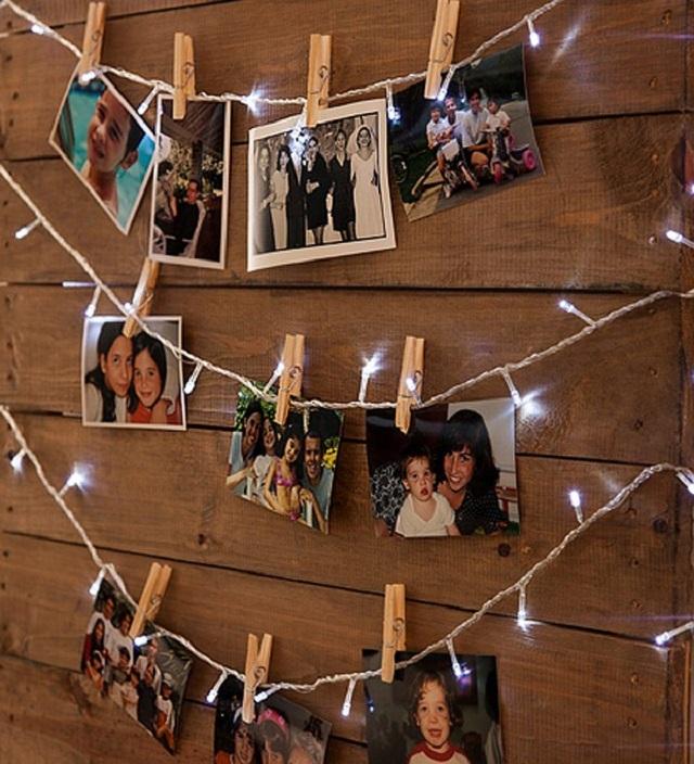 Varal de fotos com luzinhas