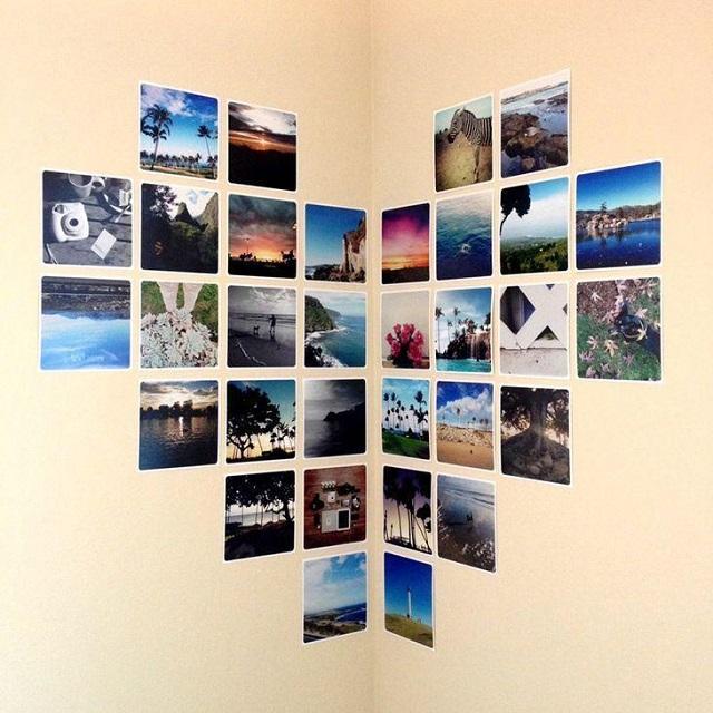 Mural de fotos em formato de coração