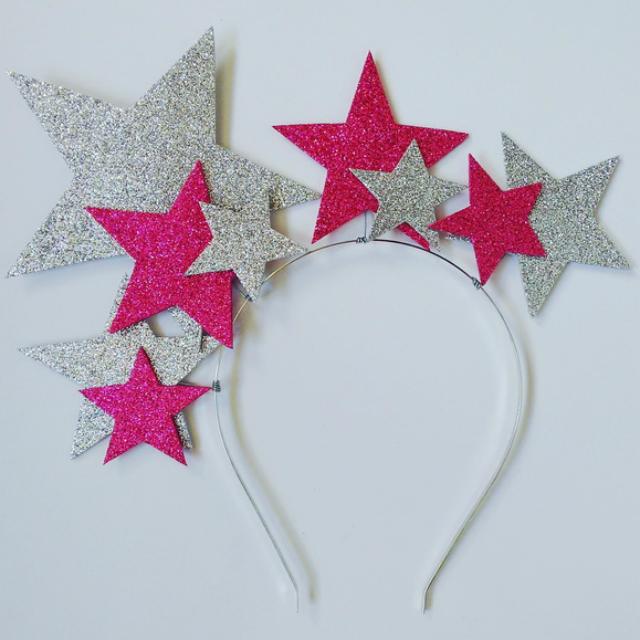 Tiara de EVA com estrelas rosa e prata