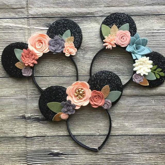 Tiara de EVA orelhinha da Minnie e flores