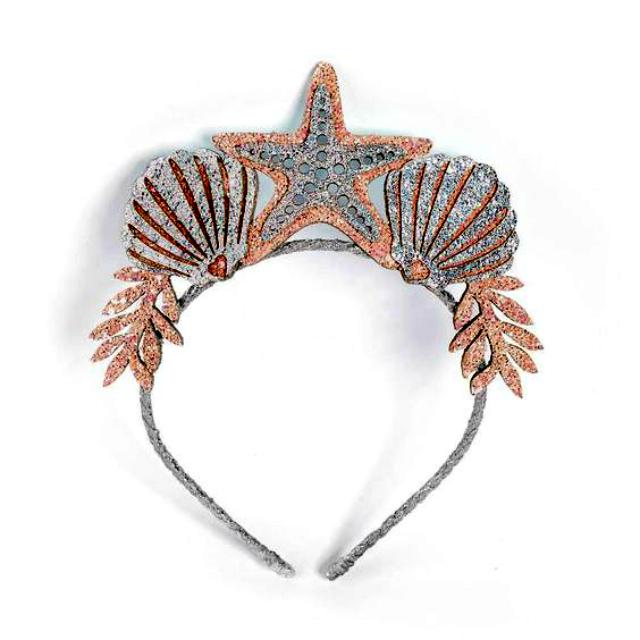 Tiara de EVA de conchas e estrela do mar