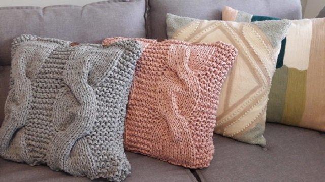 Capas de almofada de tricô