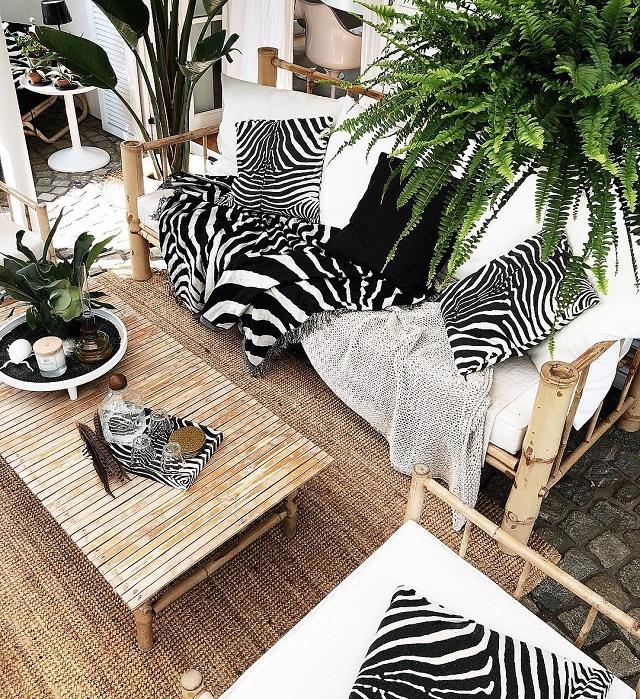 Banco e centro de mesa de bambu
