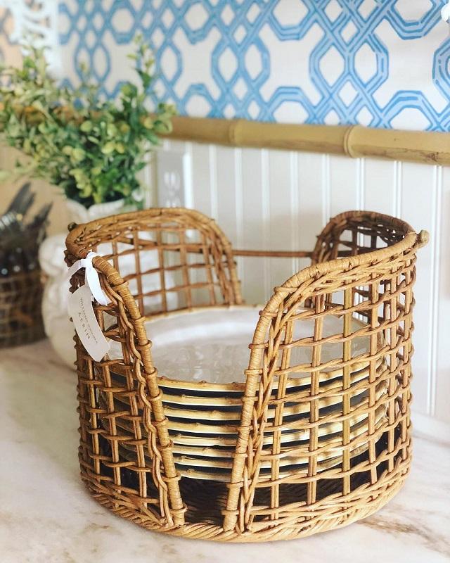 Porta pratos de bambu