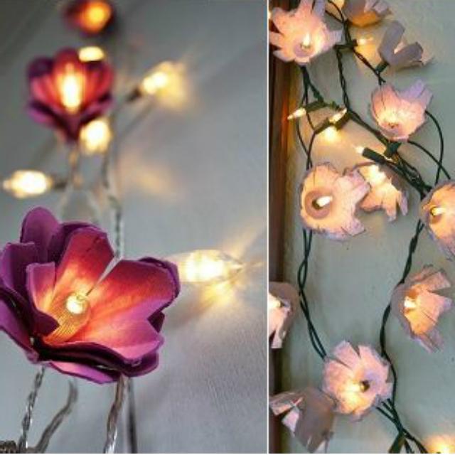 Flores de caixa de ovo com luzinhas