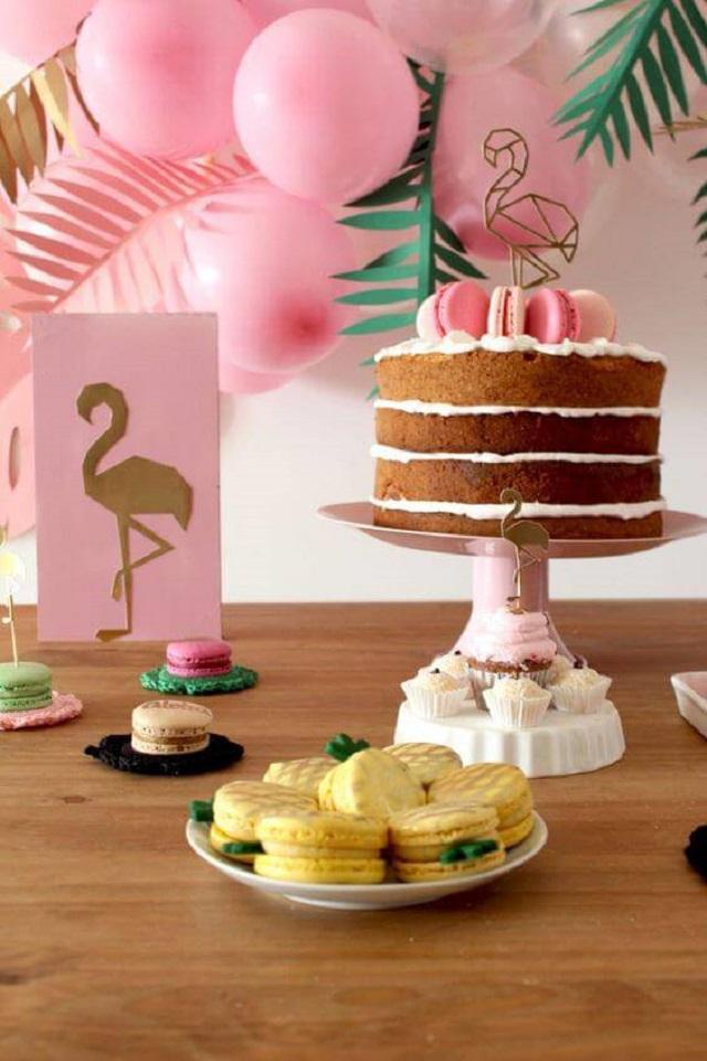Festa com tema flamingo
