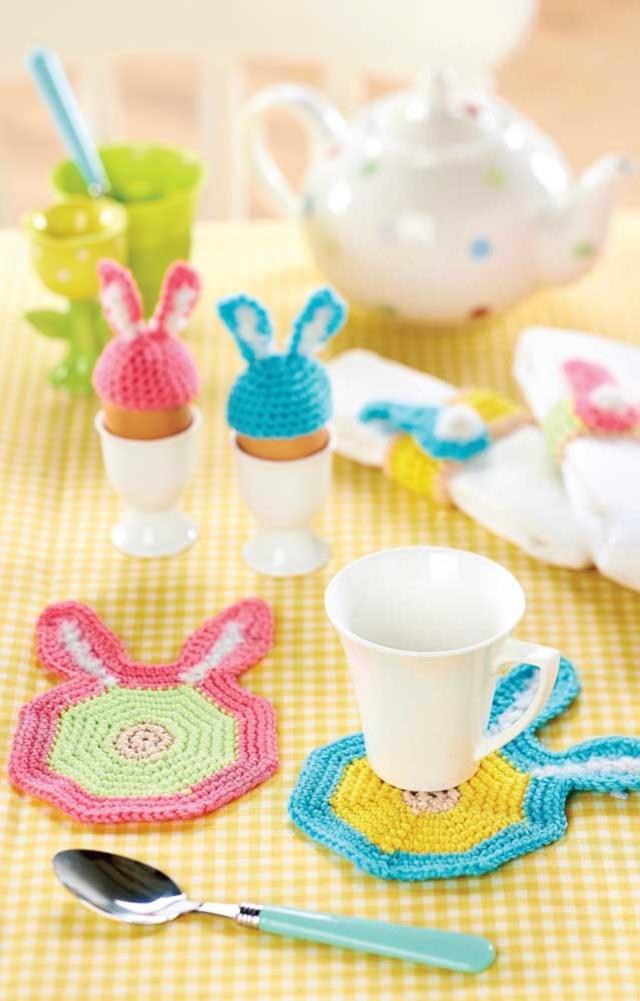 Guardanapo de crochê em formato de coelho