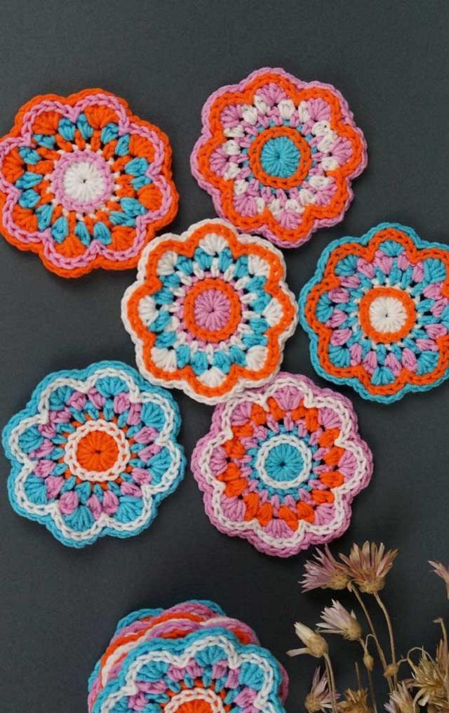 Guardanapo de crochê de flores