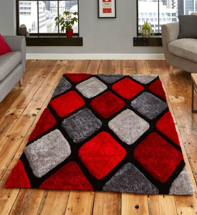 Tapete felpudo geométrico cinza, preto e vermelho