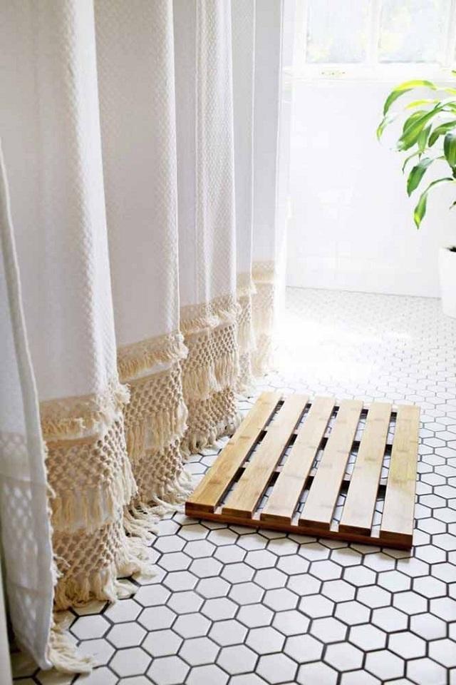 Barra de cortina de macramê