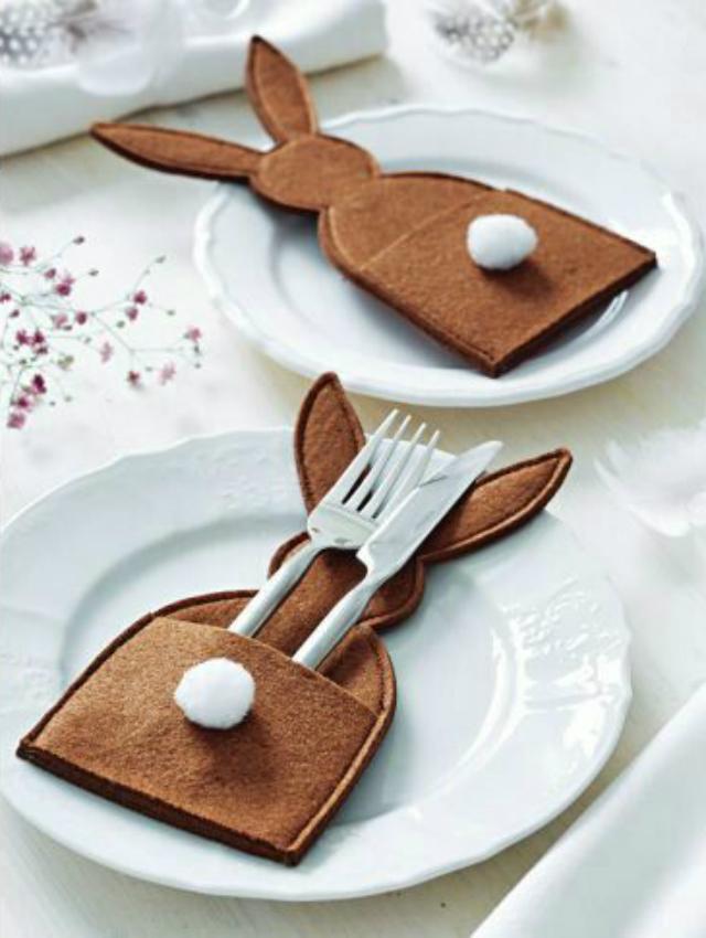 Porta-talheres em formato de coelho