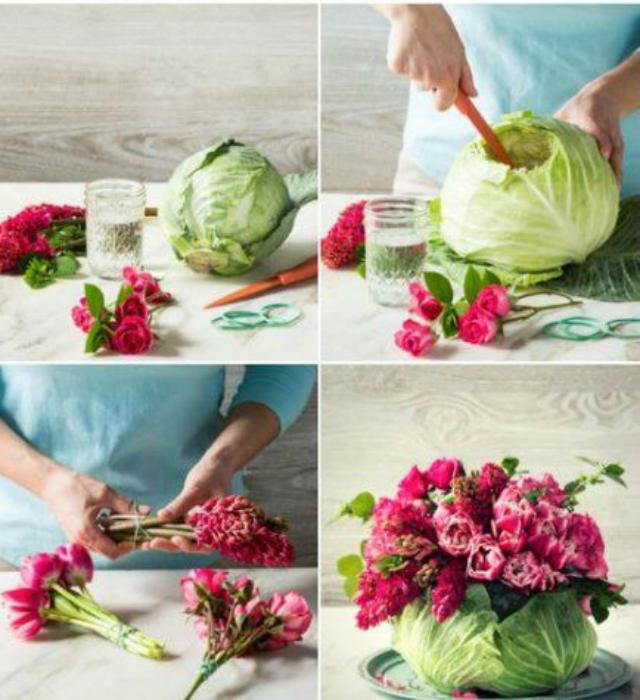 Enfeite de centro de mesa com arranjo de flores