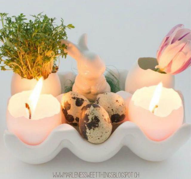 Enfeite de mesa de Páscoa com casca de ovos