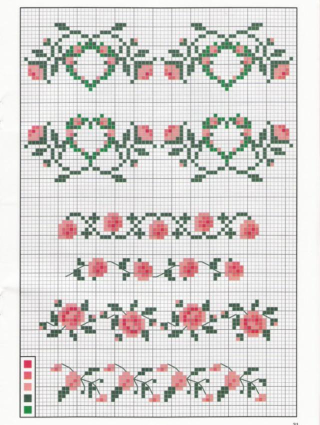 Gráfico de rosas em ponto cruz com galhos