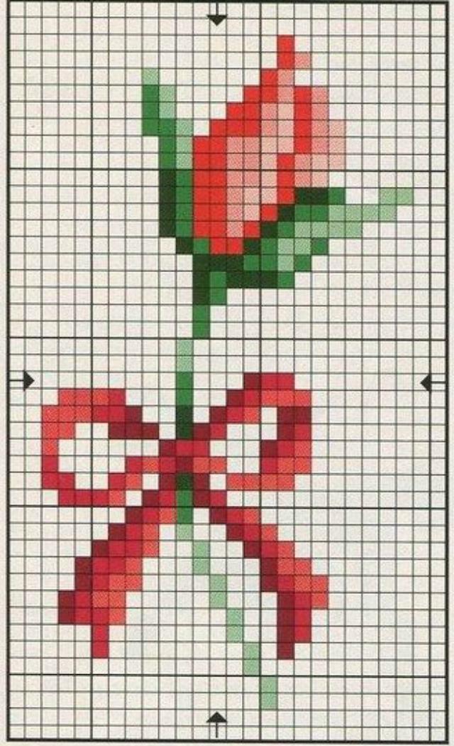 Gráfico de rosa com laço em ponto cruz