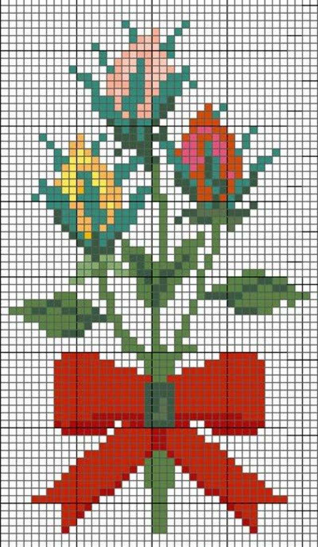 Gráfico de rosas em ponto cruz com laço