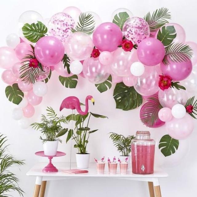Decoração de festa de flamingos