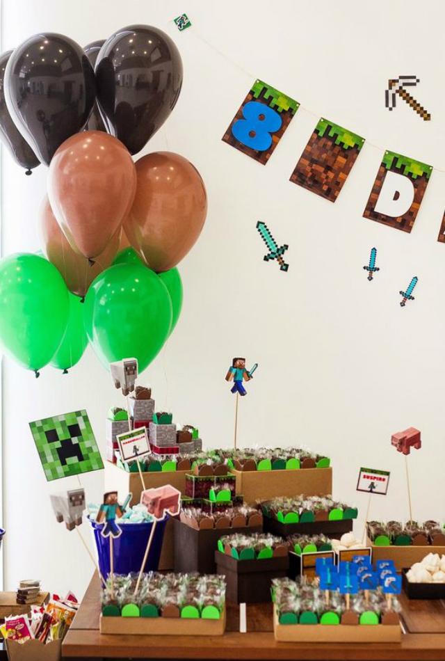 Mesa de doces de festa Minecraft
