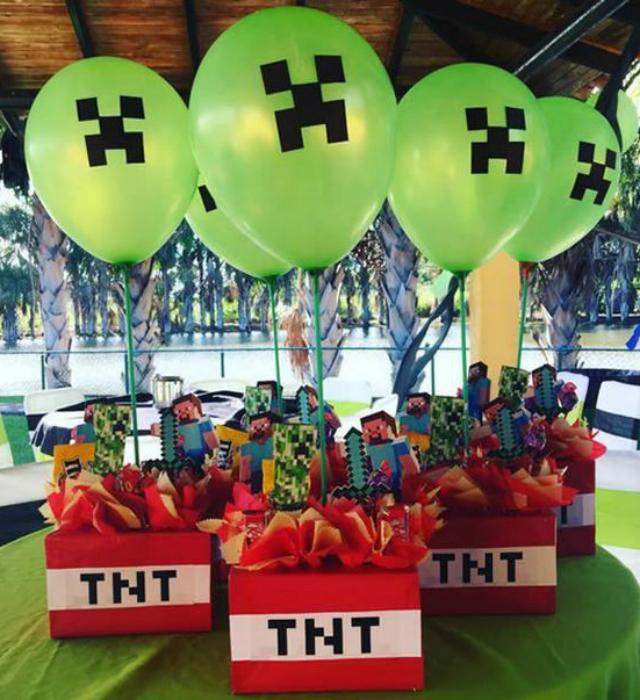 Centro de mesa de festa Minecraft