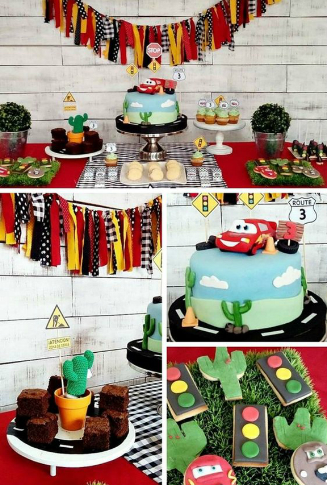 Mesa de doces de festa Carros