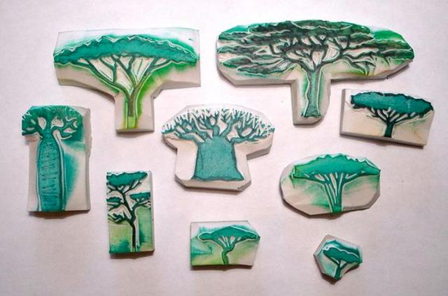 Carimbos de EVA de árvores