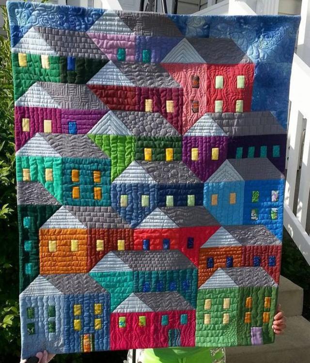 Colcha de retalhos com casinhas
