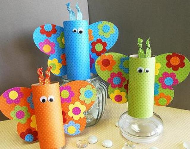 Borboletas de rolo de papel higiênico