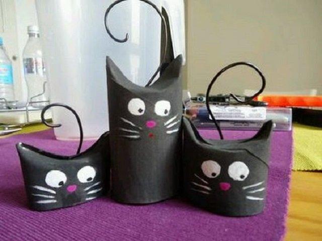 Gatos de rolo de papel higiênico
