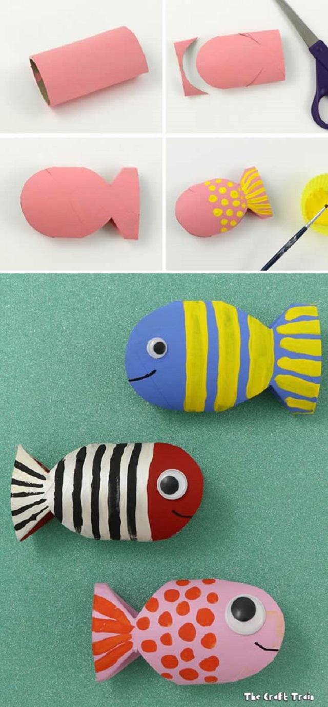 Peixe de rolo de papel higiênico