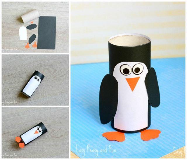Pinguim de rolo de papel higiênico