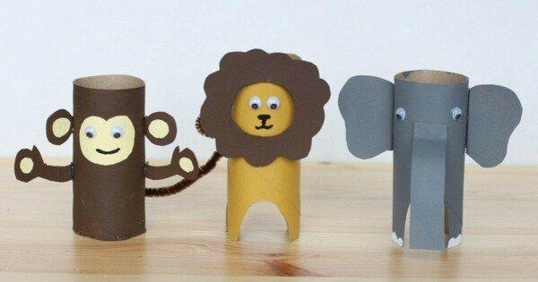 Macaco, leão e elefante de rolo de papel higiênico
