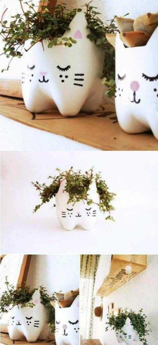 Vasos divertidos de garrafa pet