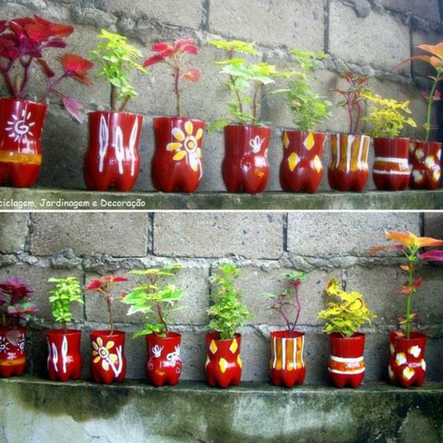 Vasos para horta de garrafa pet